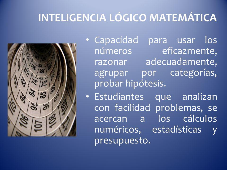INTELIGENCIA LÓGICO MATEMÁTICA Capacidad para usar los números eficazmente, razonar adecuadamente, agrupar por categorías, probar hipótesis. Estudiant