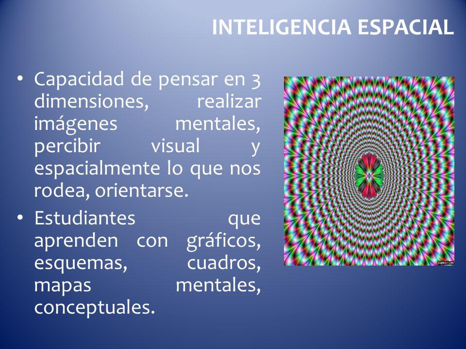 INTELIGENCIA ESPACIAL Capacidad de pensar en 3 dimensiones, realizar imágenes mentales, percibir visual y espacialmente lo que nos rodea, orientarse.
