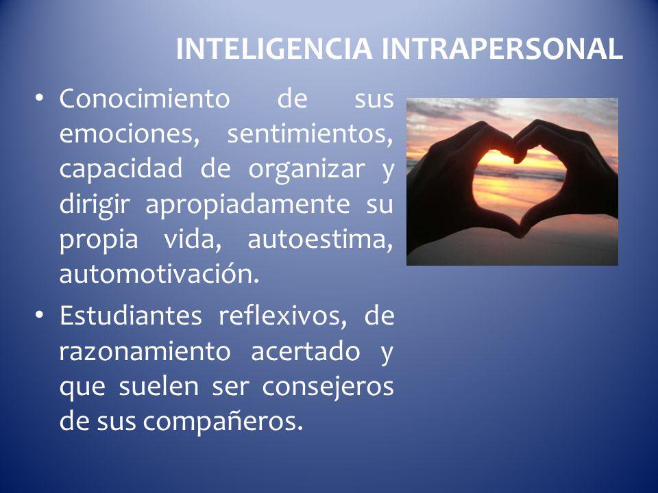 INTELIGENCIA INTRAPERSONAL Conocimiento de sus emociones, sentimientos, capacidad de organizar y dirigir apropiadamente su propia vida, autoestima, au