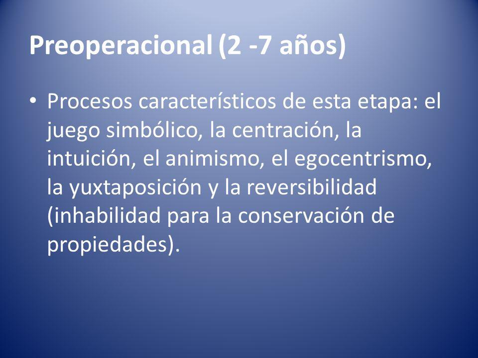 Preoperacional (2 -7 años) Procesos característicos de esta etapa: el juego simbólico, la centración, la intuición, el animismo, el egocentrismo, la y