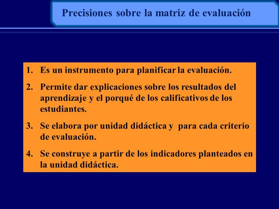 Precisiones sobre la matriz de evaluación 1.Es un instrumento para planificar la evaluación. 2.Permite dar explicaciones sobre los resultados del apre