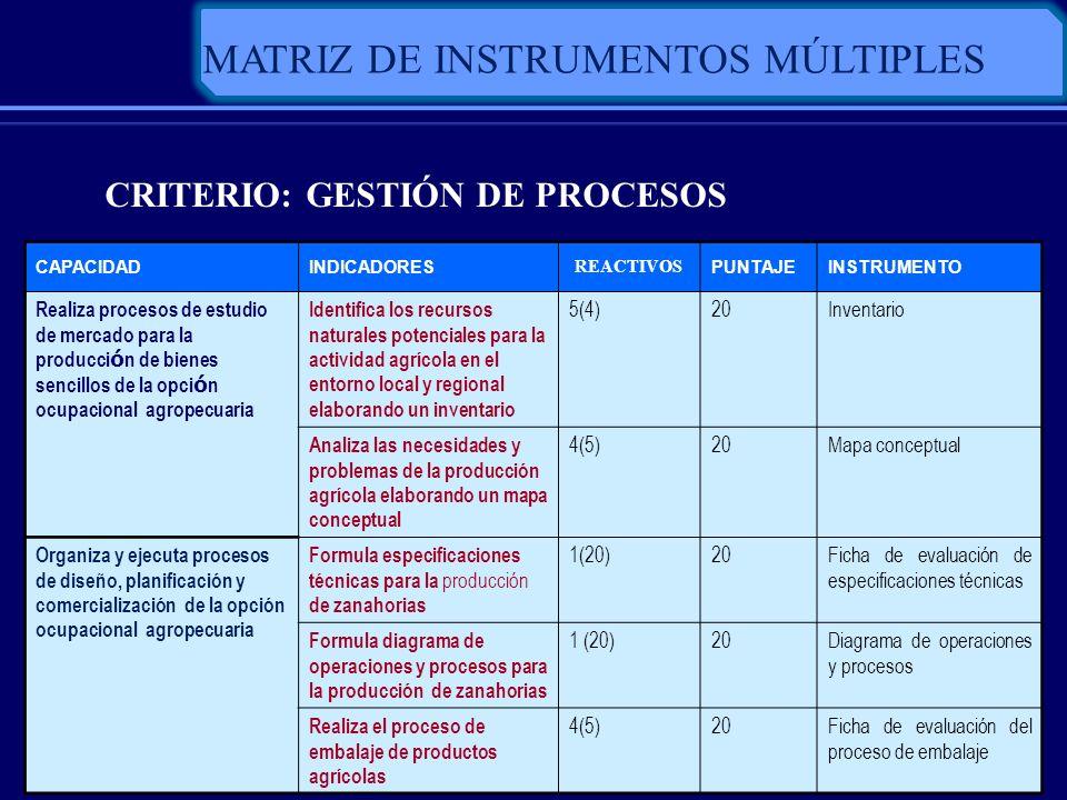 CRITERIO: GESTIÓN DE PROCESOS CAPACIDADINDICADORES REACTIVOS PUNTAJEINSTRUMENTO Realiza procesos de estudio de mercado para la producci ó n de bienes