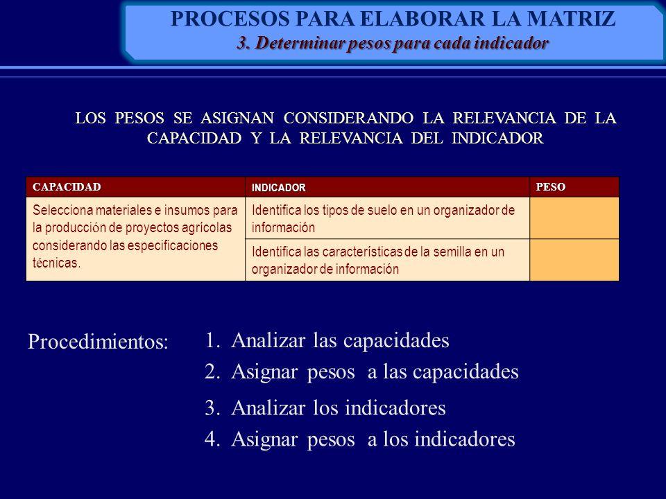 PROCESOS PARA ELABORAR LA MATRIZ 3. Determinar pesos para cada indicador LOS PESOS SE ASIGNAN CONSIDERANDO LA RELEVANCIA DE LA CAPACIDAD Y LA RELEVANC