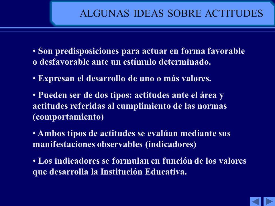 ALGUNAS IDEAS SOBRE ACTITUDES Son predisposiciones para actuar en forma favorable o desfavorable ante un estímulo determinado. Expresan el desarrollo