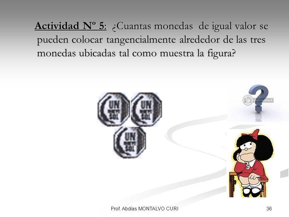 36Prof. Abdías MONTALVO CURI Actividad Nº 5: ¿Cuantas monedas de igual valor se pueden colocar tangencialmente alrededor de las tres monedas ubicadas