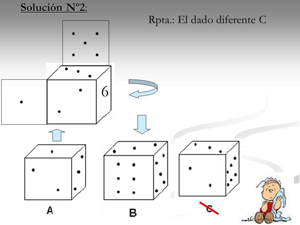52 Solución Nº2: Solución Nº2: 6 Rpta.: El dado diferente C