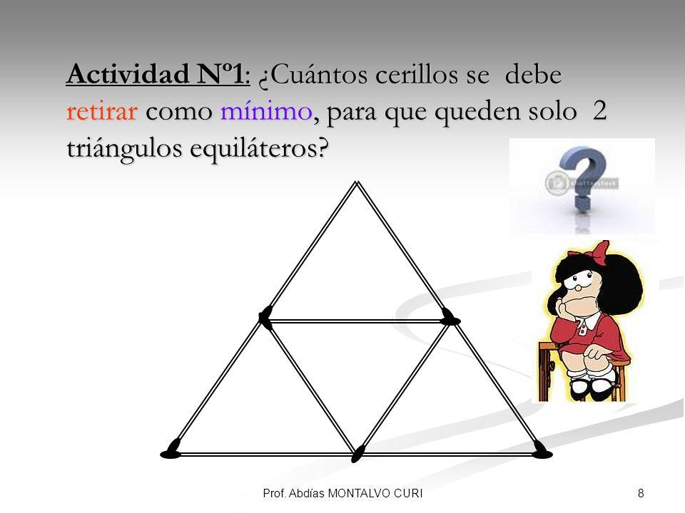 8Prof. Abdías MONTALVO CURI Actividad Nº1: ¿Cuántos cerillos se debe retirar como mínimo, para que queden solo 2 triángulos equiláteros? Actividad Nº1