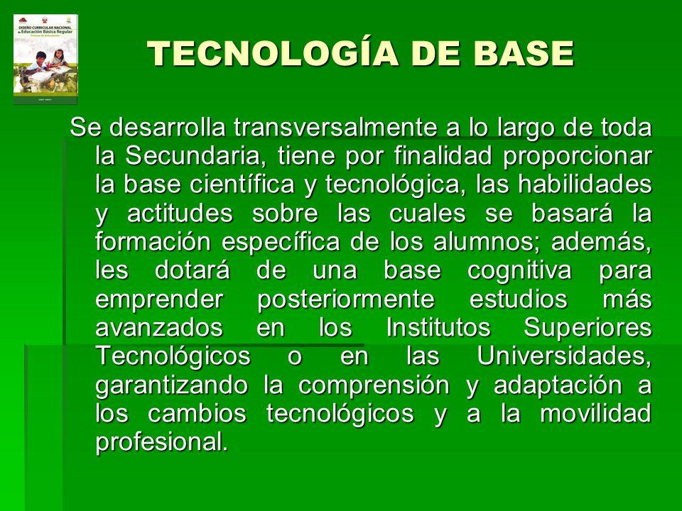 TECNOLOGÍA DE BASE Se desarrolla transversalmente a lo largo de toda la Secundaria, tiene por finalidad proporcionar la base científica y tecnológica,