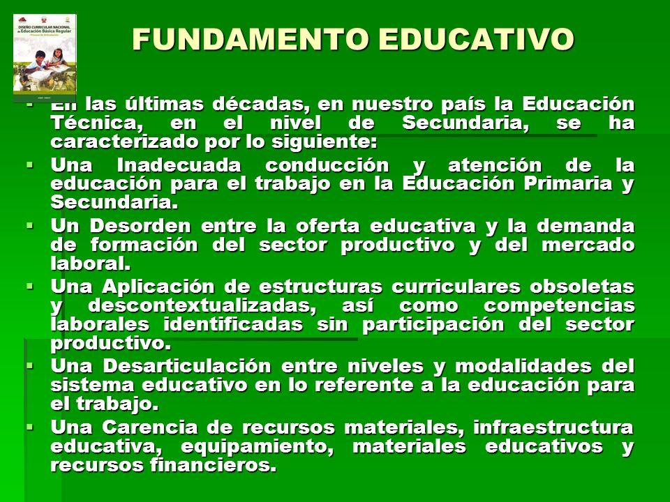 FUNDAMENTO EDUCATIVO En las últimas décadas, en nuestro país la Educación Técnica, en el nivel de Secundaria, se ha caracterizado por lo siguiente: En