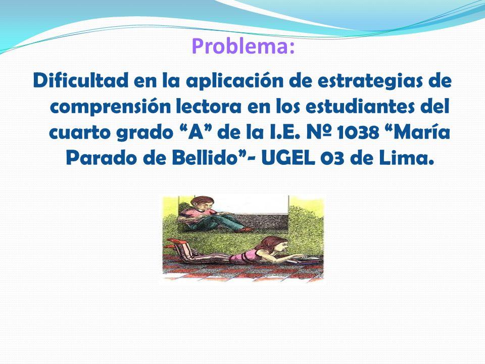 Problema: Dificultad en la aplicación de estrategias de comprensión lectora en los estudiantes del cuarto grado A de la I.E. Nº 1038 María Parado de B