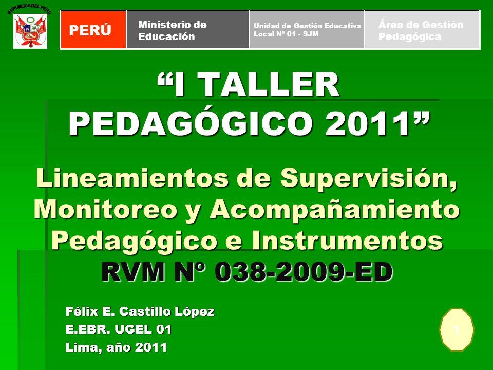 I TALLER PEDAGÓGICO 2011 Félix E. Castillo López E.EBR. UGEL 01 Lima, año 2011 1 PERÚ Unidad de Gestión Educativa Local Nº 01 - SJM Ministerio de Educ