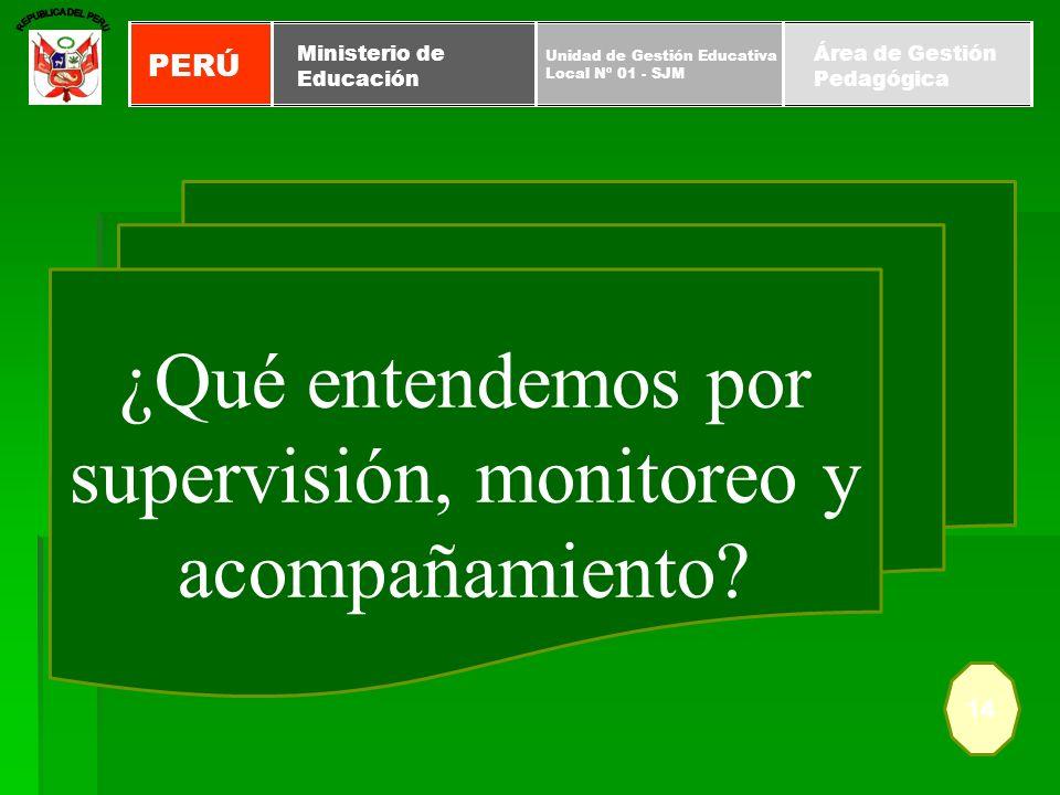 14 ¿Qué entendemos por supervisión, monitoreo y acompañamiento? PERÚ Unidad de Gestión Educativa Local Nº 01 - SJM Ministerio de Educación Área de Ges
