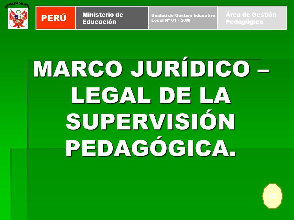 MARCO JURÍDICO – LEGAL DE LA SUPERVISIÓN PEDAGÓGICA. 16 PERÚ Unidad de Gestión Educativa Local Nº 01 - SJM Ministerio de Educación Área de Gestión Ped