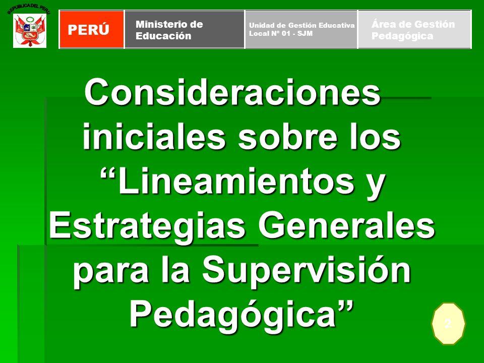 Consideraciones iniciales sobre los Lineamientos y Estrategias Generales para la Supervisión Pedagógica 2 PERÚ Unidad de Gestión Educativa Local Nº 01