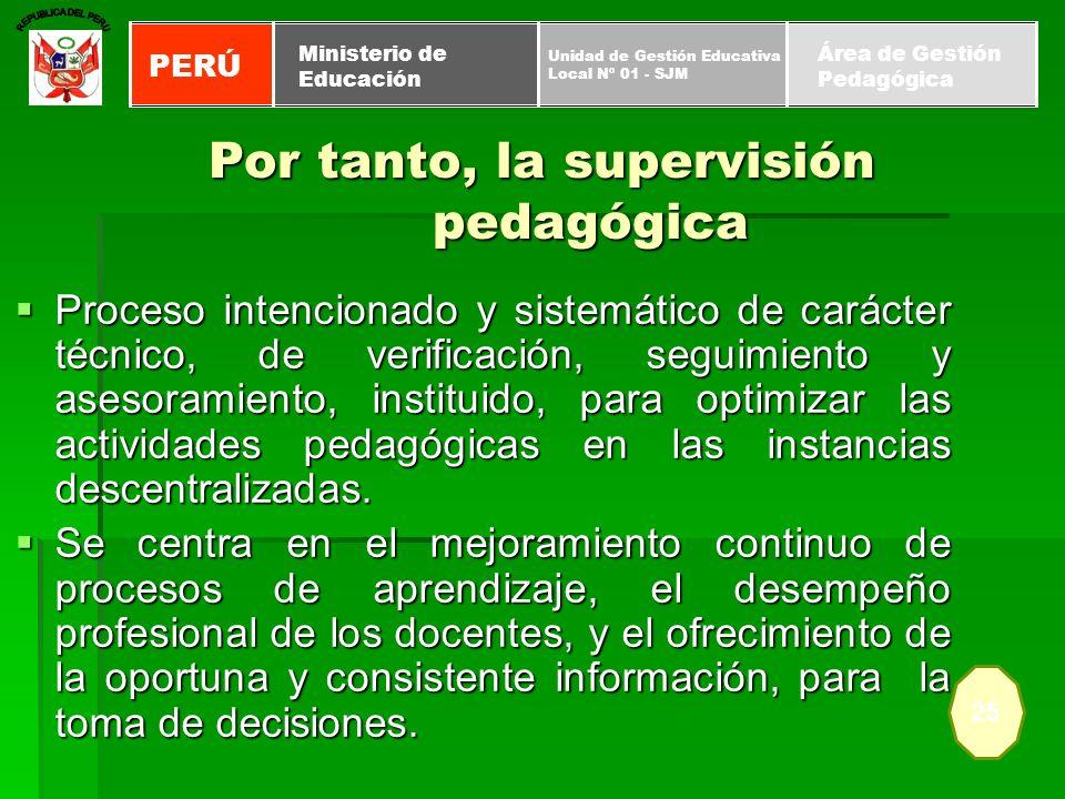 Por tanto, la supervisión pedagógica Proceso intencionado y sistemático de carácter técnico, de verificación, seguimiento y asesoramiento, instituido,