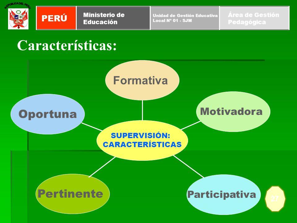 Pertinente Oportuna Participativa Motivadora Formativa SUPERVISIÓN: CARACTERÍSTICAS Características: 27 PERÚ Unidad de Gestión Educativa Local Nº 01 -