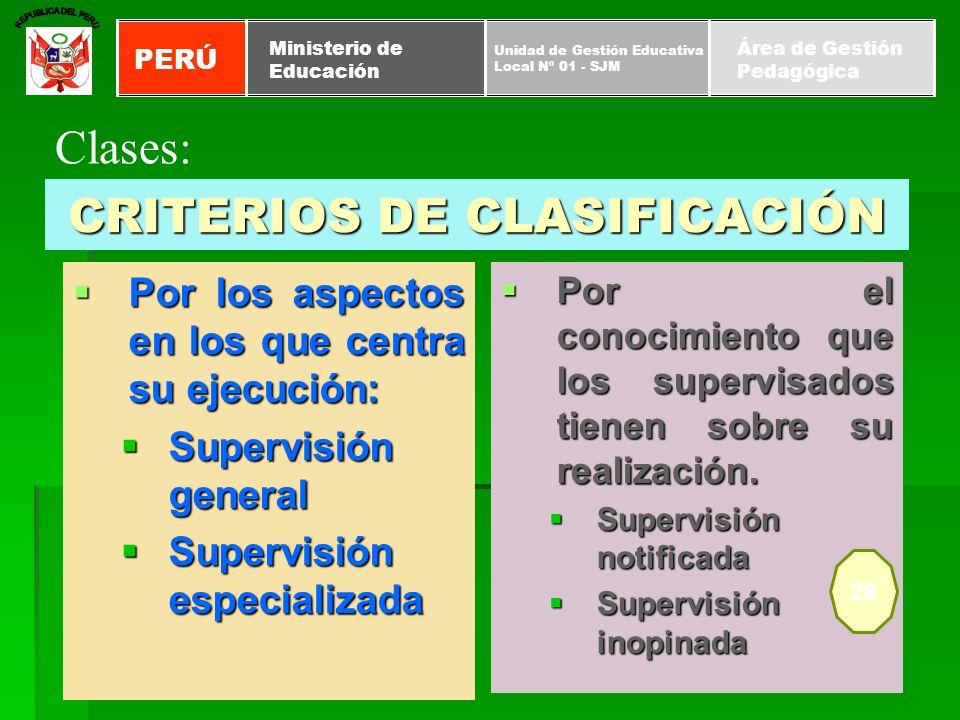 CRITERIOS DE CLASIFICACIÓN Por los aspectos en los que centra su ejecución: Por los aspectos en los que centra su ejecución: Supervisión general Super