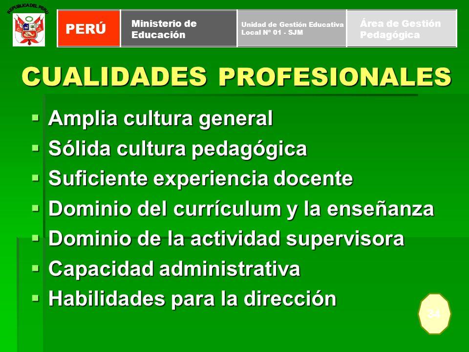 CUALIDADES PROFESIONALES Amplia cultura general Amplia cultura general Sólida cultura pedagógica Sólida cultura pedagógica Suficiente experiencia doce