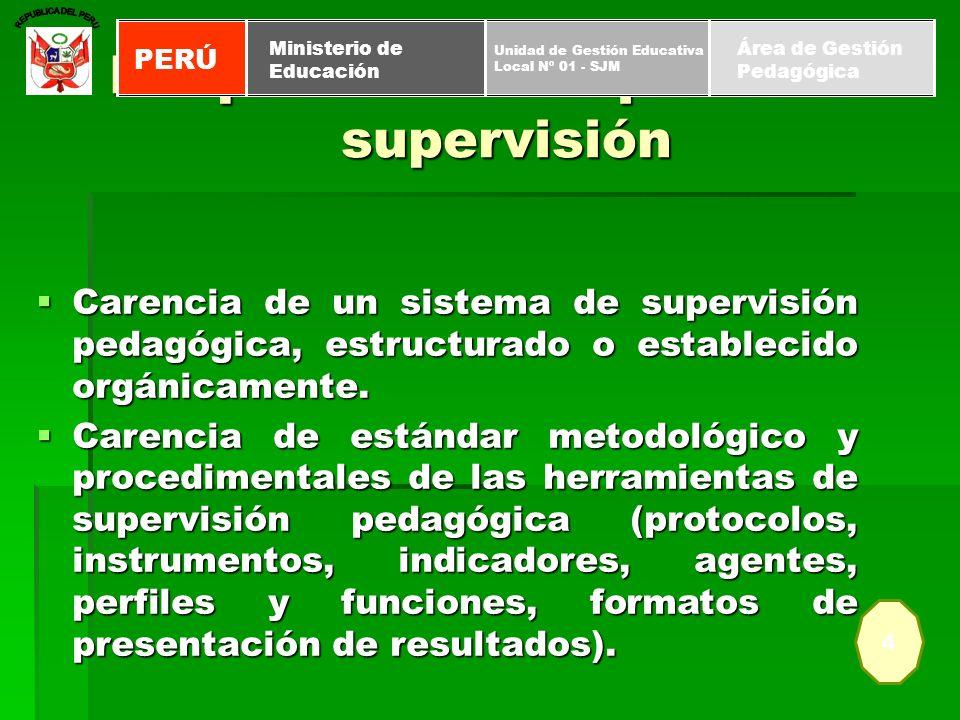 Carencia de un sistema de supervisión pedagógica, estructurado o establecido orgánicamente. Carencia de un sistema de supervisión pedagógica, estructu