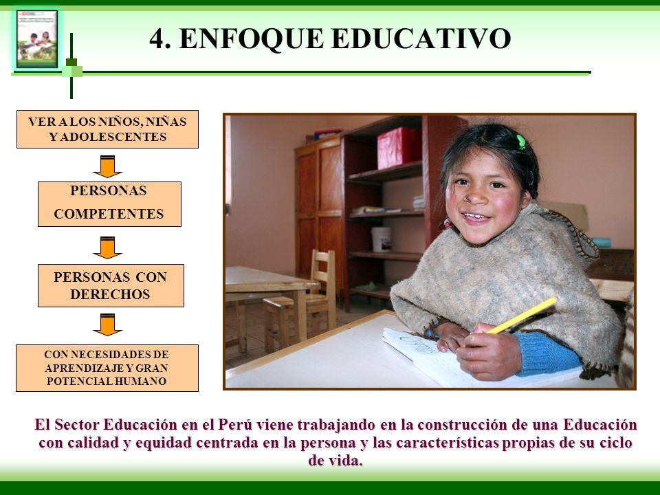 4. ENFOQUE EDUCATIVO El Sector Educación en el Perú viene trabajando en la construcción de una Educación con calidad y equidad centrada en la persona