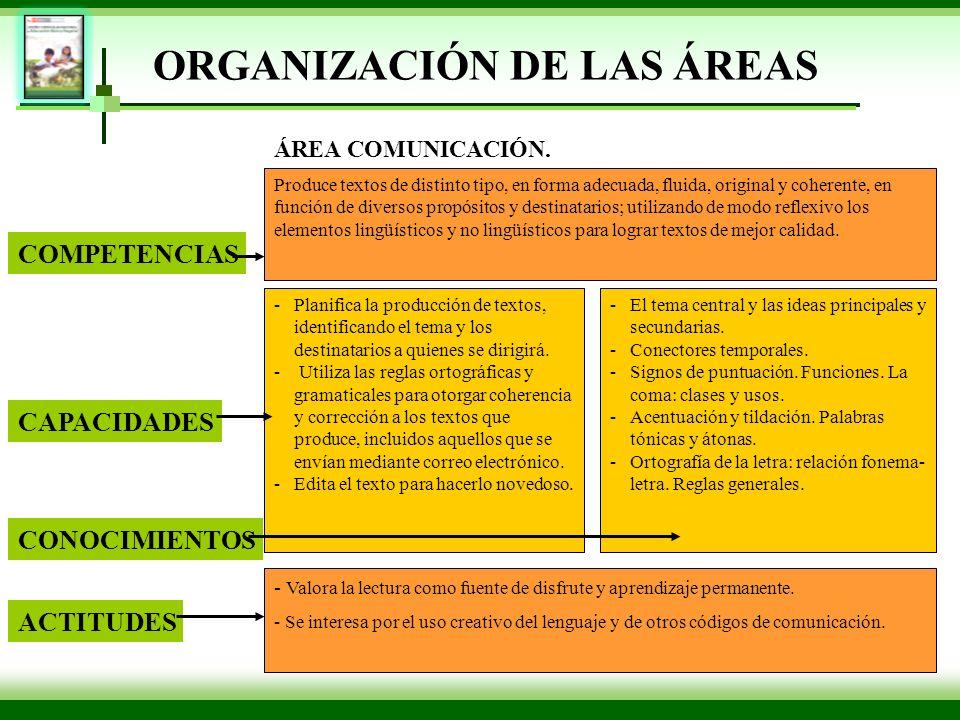 ORGANIZACIÓN DE LAS ÁREAS Produce textos de distinto tipo, en forma adecuada, fluida, original y coherente, en función de diversos propósitos y destin