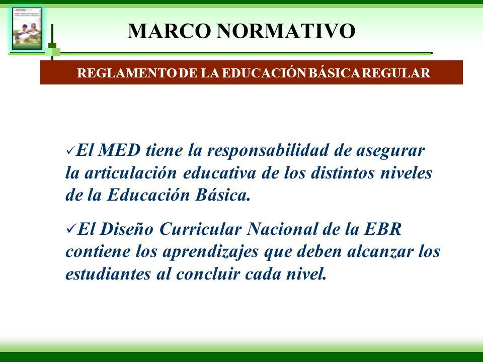MARCO NORMATIVO REGLAMENTO DE LA EDUCACIÓN BÁSICA REGULAR El MED tiene la responsabilidad de asegurar la articulación educativa de los distintos nivel