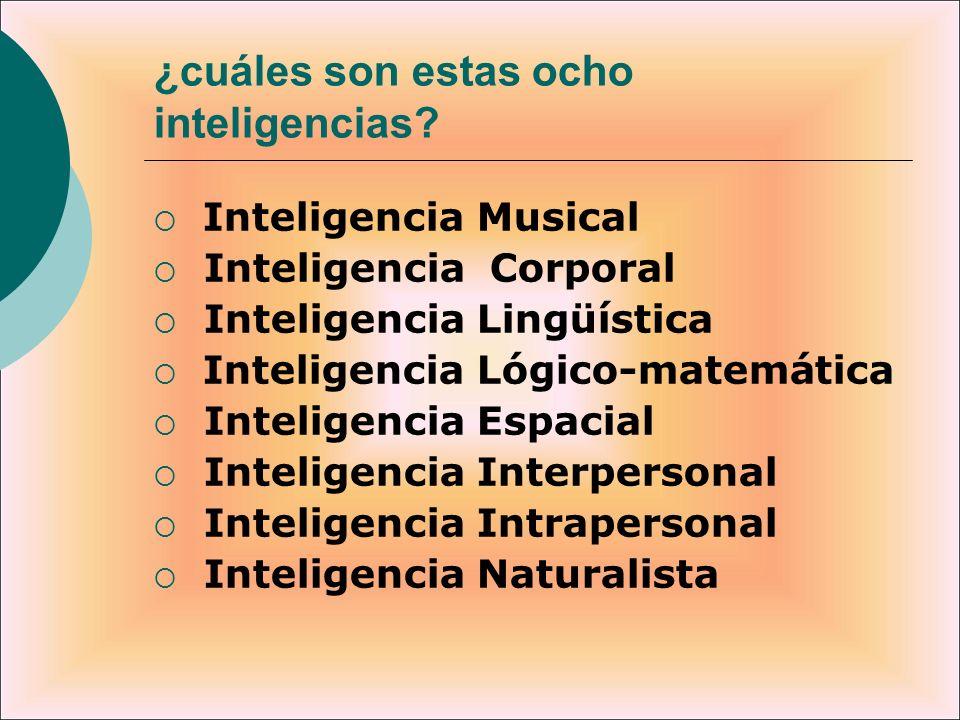 ¿cuáles son estas ocho inteligencias? Inteligencia Musical Inteligencia Corporal Inteligencia Lingüística Inteligencia Lógico-matemática Inteligencia