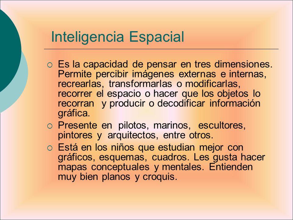 Inteligencia Espacial Es la capacidad de pensar en tres dimensiones. Permite percibir imágenes externas e internas, recrearlas, transformarlas o modif