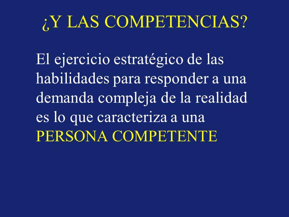 ¿Y LAS COMPETENCIAS? El ejercicio estratégico de las habilidades para responder a una demanda compleja de la realidad es lo que caracteriza a una PERS