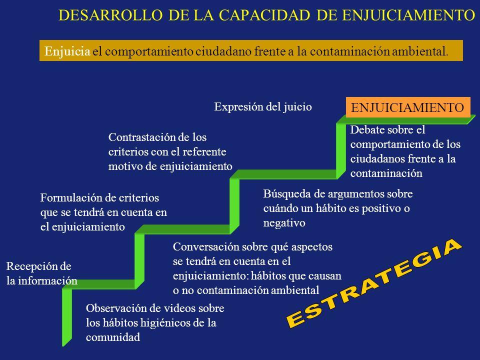 DESARROLLO DE LA CAPACIDAD DE ENJUICIAMIENTO ENJUICIAMIENTO Recepción de la información Formulación de criterios que se tendrá en cuenta en el enjuici