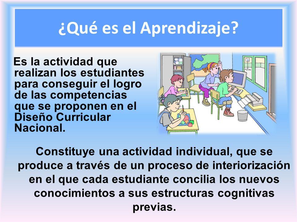 ¿Qué es el Aprendizaje? Es la actividad que realizan los estudiantes para conseguir el logro de las competencias que se proponen en el Diseño Curricul