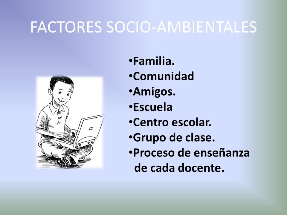 FACTORES SOCIO-AMBIENTALES Familia. Comunidad Amigos. Escuela Centro escolar. Grupo de clase. Proceso de enseñanza de cada docente.