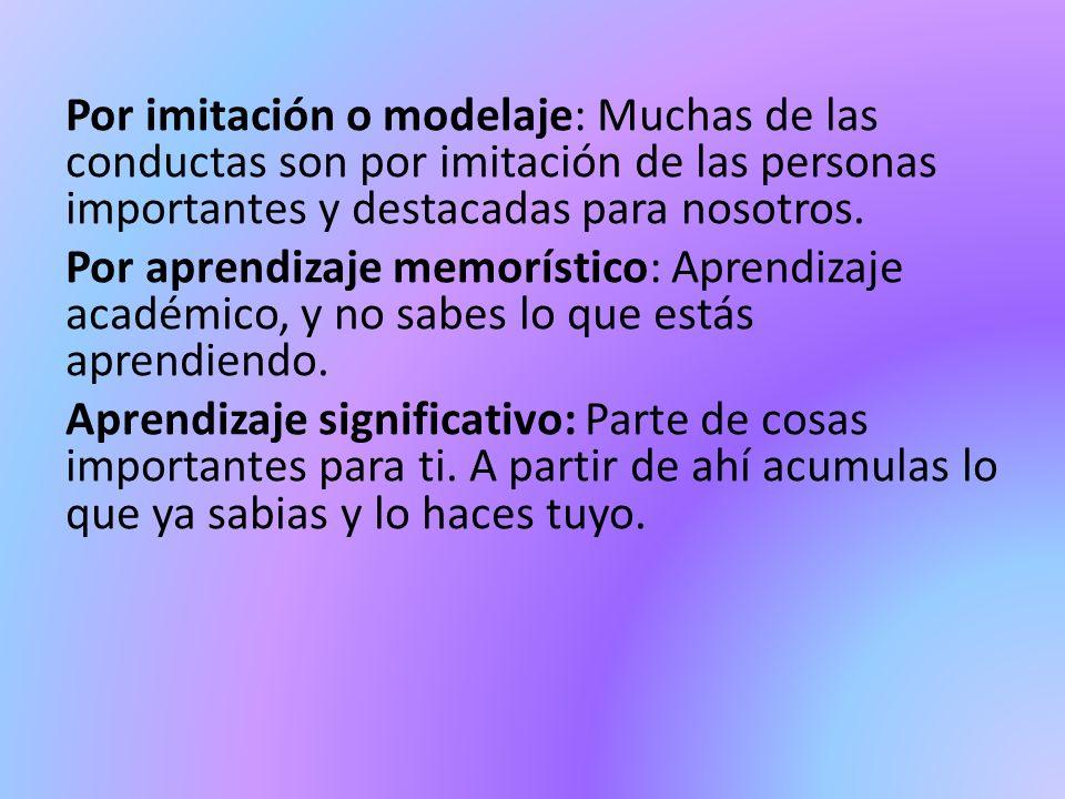 Por imitación o modelaje: Muchas de las conductas son por imitación de las personas importantes y destacadas para nosotros. Por aprendizaje memorístic