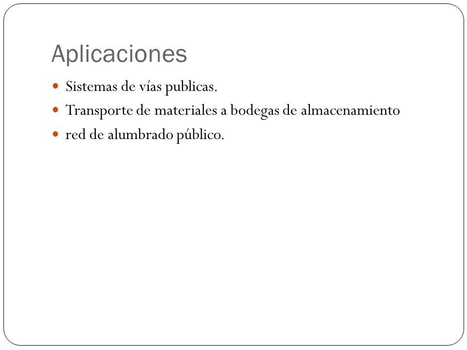 Aplicaciones Sistemas de vías publicas. Transporte de materiales a bodegas de almacenamiento red de alumbrado público.
