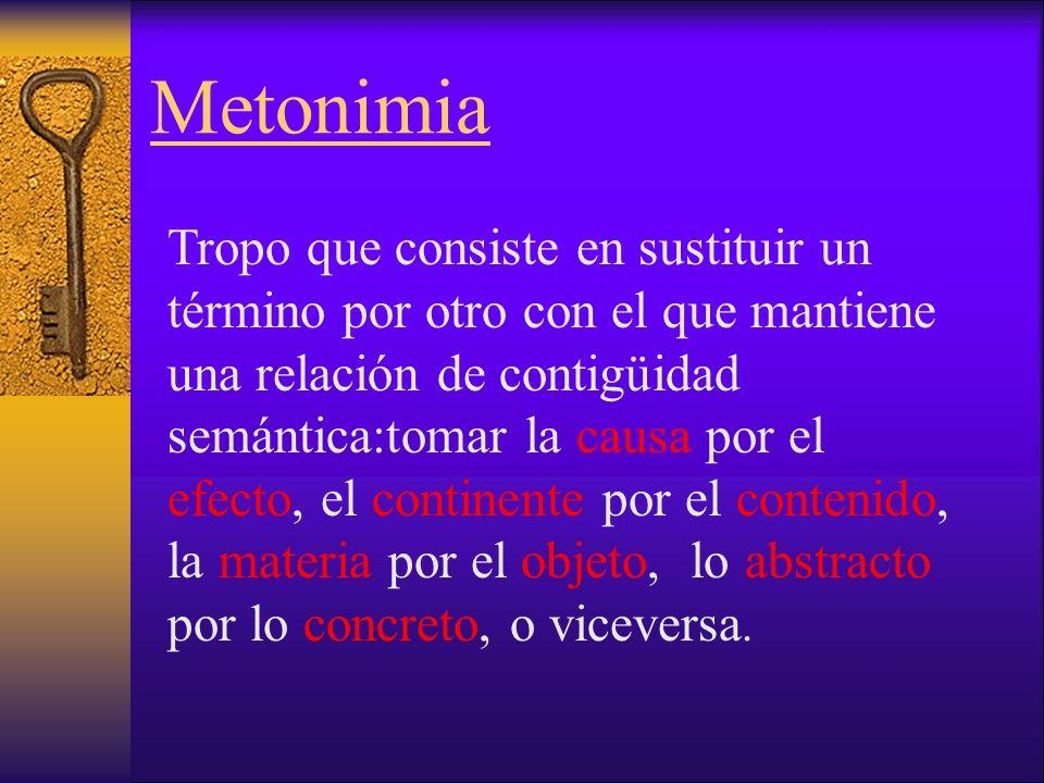 Metonimia Tropo que consiste en sustituir un término por otro con el que mantiene una relación de contigüidad semántica:tomar la causa por el efecto, el continente por el contenido, la materia por el objeto, lo abstracto por lo concreto, o viceversa.