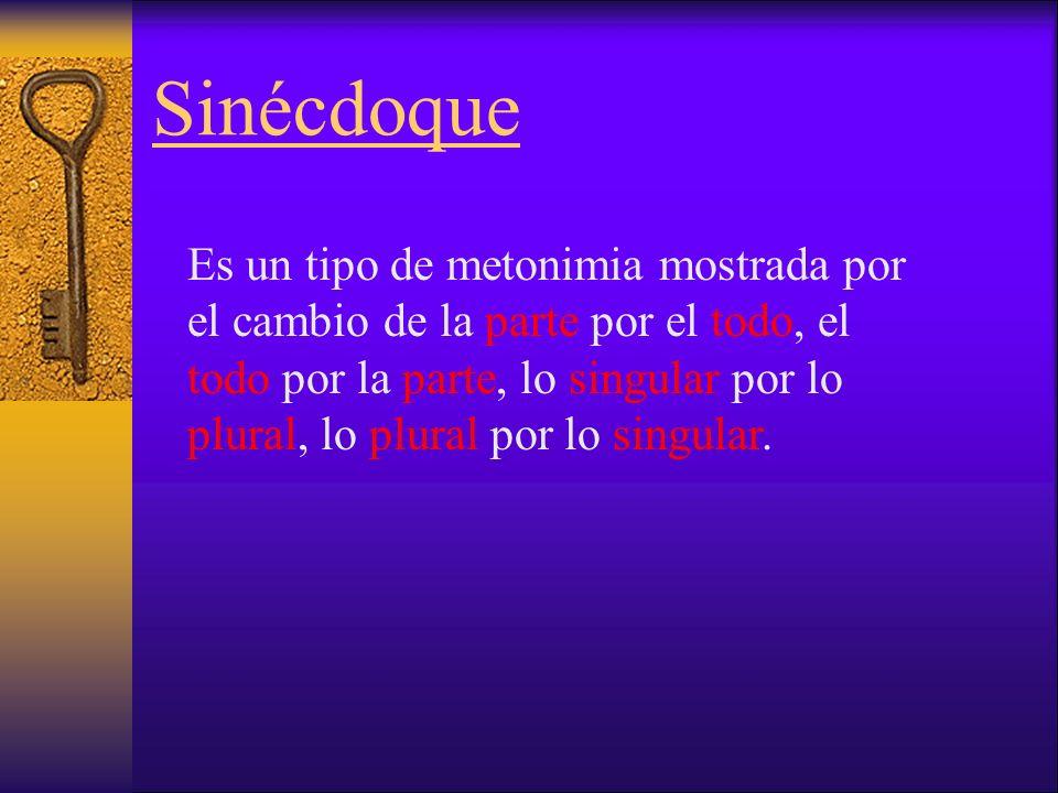 Sinécdoque Es un tipo de metonimia mostrada por el cambio de la parte por el todo, el todo por la parte, lo singular por lo plural, lo plural por lo singular.