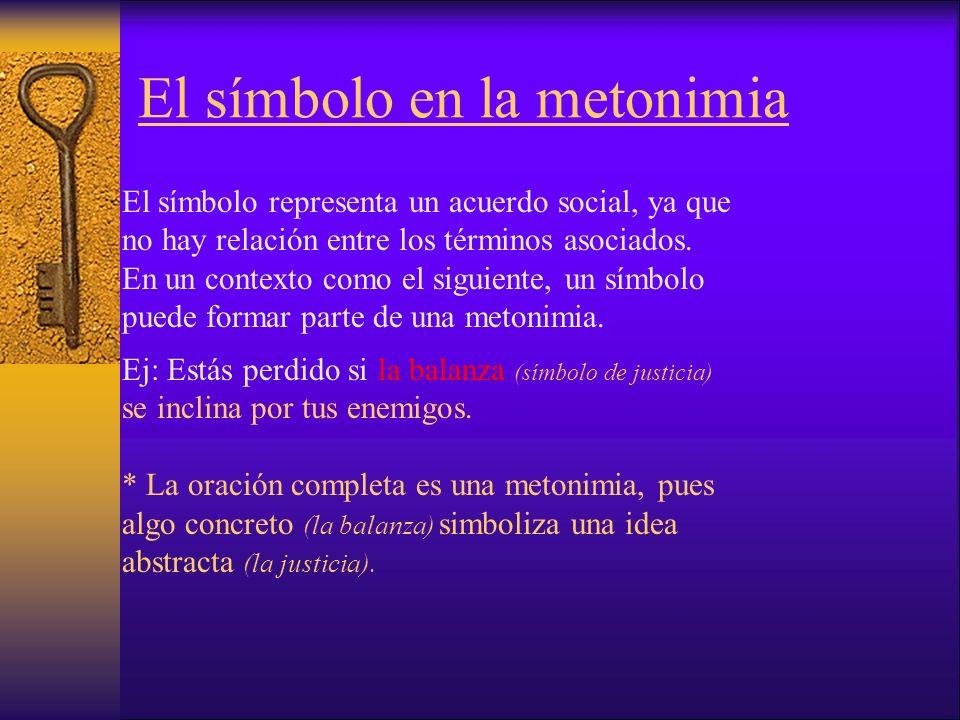 El símbolo en la metonimia El símbolo representa un acuerdo social, ya que no hay relación entre los términos asociados.