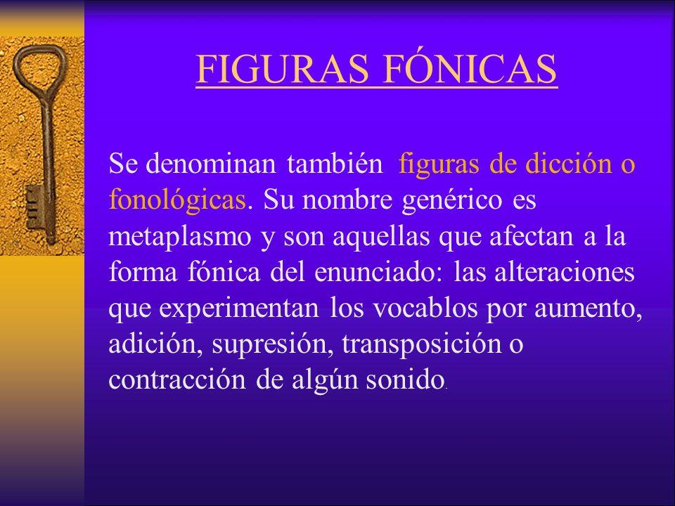 FIGURAS FÓNICAS Se denominan también figuras de dicción o fonológicas.