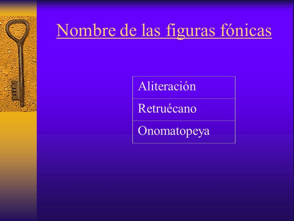 Nombre de las figuras fónicas Aliteración Retruécano Onomatopeya