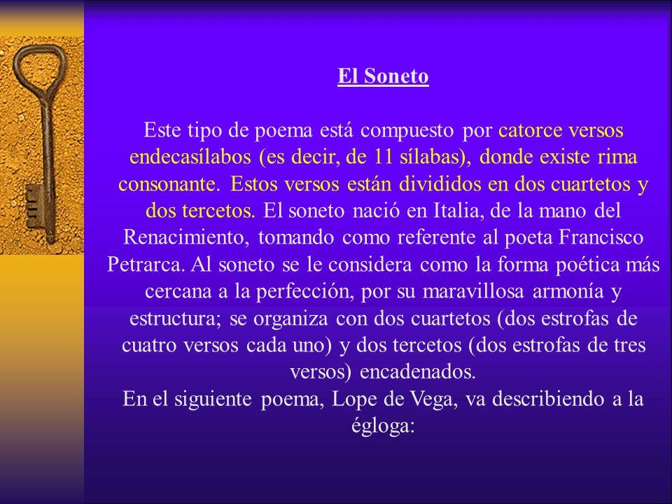 El Soneto Este tipo de poema está compuesto por catorce versos endecasílabos (es decir, de 11 sílabas), donde existe rima consonante.