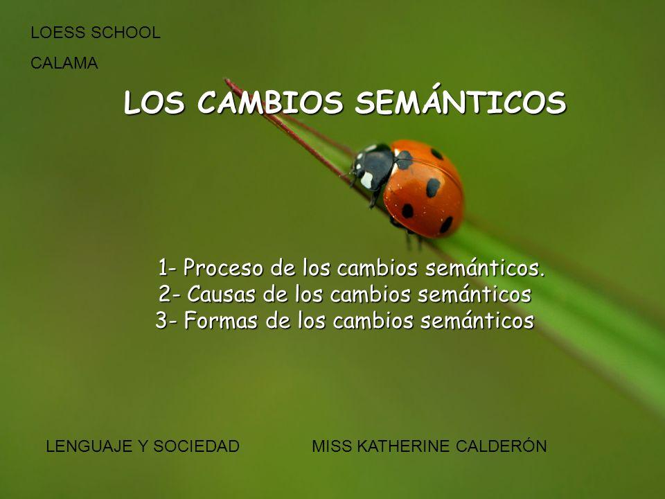 LOS CAMBIOS SEMÁNTICOS 1- Proceso de los cambios semánticos. 1- Proceso de los cambios semánticos. 2- Causas de los cambios semánticos 3- Formas de lo