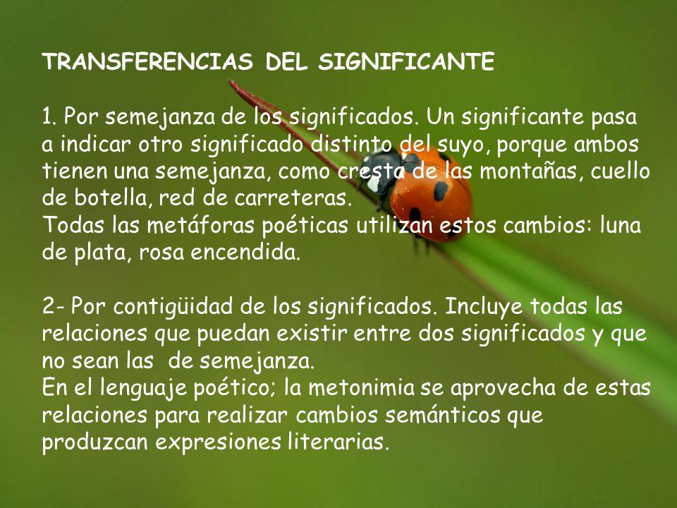 TRANSFERENCIAS DEL SIGNIFICANTE 1.Por semejanza de los significados.