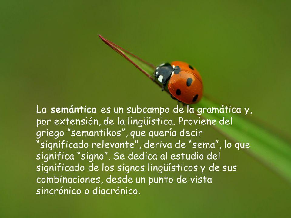 La semántica es un subcampo de la gramática y, por extensión, de la lingüística. Proviene del griego semantikos, que quería decir significado relevant