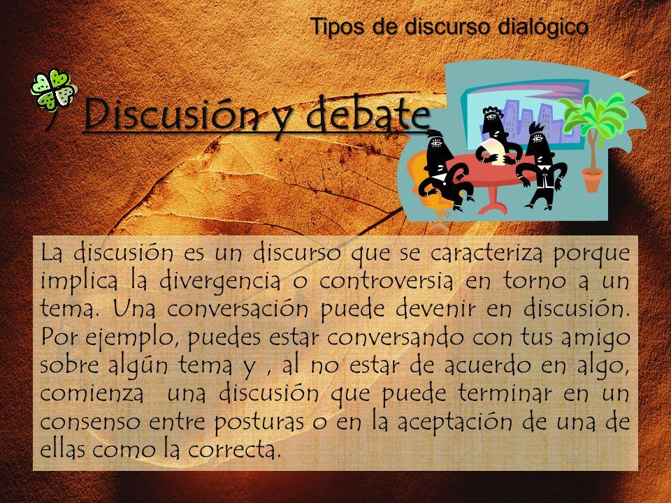 La discusión es un discurso que se caracteriza porque implica la divergencia o controversia en torno a un tema. Una conversación puede devenir en disc