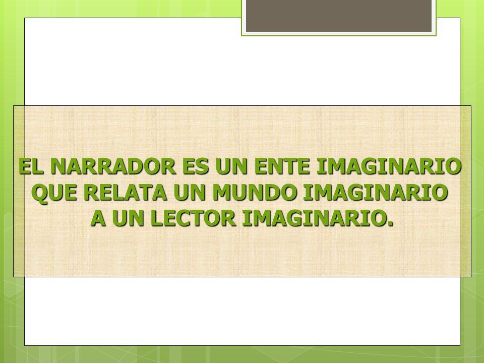 EL NARRADOR ES UN ENTE IMAGINARIO QUE RELATA UN MUNDO IMAGINARIO A UN LECTOR IMAGINARIO.
