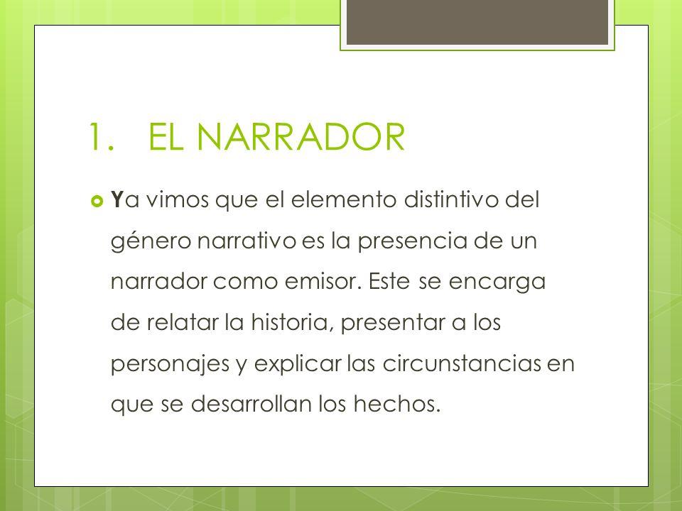 1.EL NARRADOR Y a vimos que el elemento distintivo del género narrativo es la presencia de un narrador como emisor. Este se encarga de relatar la hist
