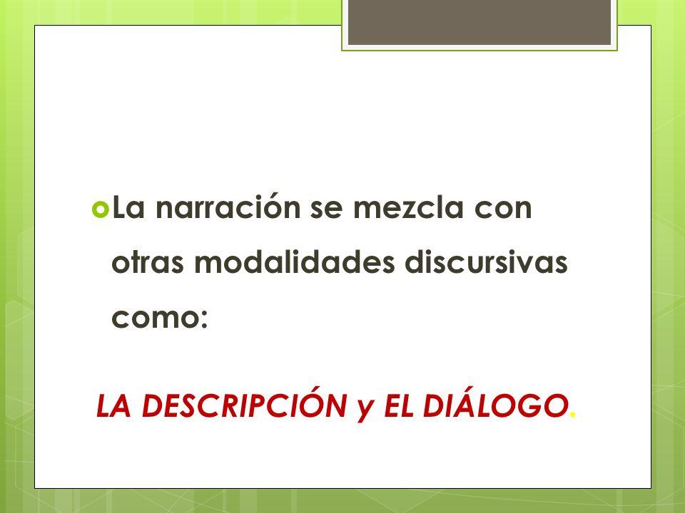 La narración se mezcla con otras modalidades discursivas como: LA DESCRIPCIÓN y EL DIÁLOGO.