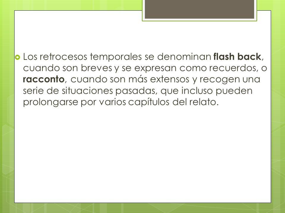 Los retrocesos temporales se denominan flash back, cuando son breves y se expresan como recuerdos, o racconto, cuando son más extensos y recogen una s