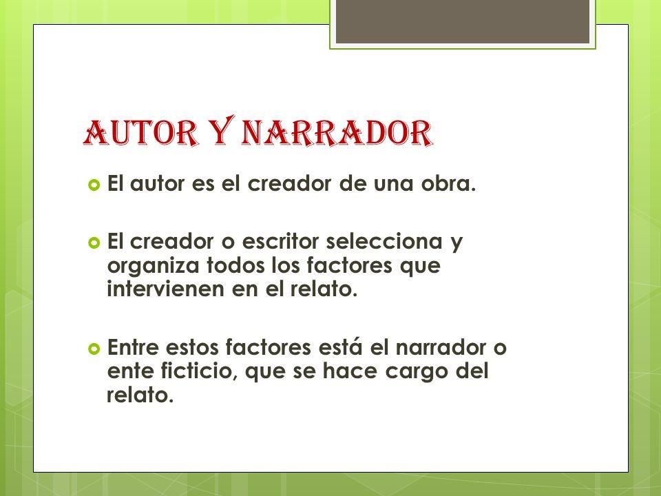 AUTOR Y NARRADOR El autor es el creador de una obra. El creador o escritor selecciona y organiza todos los factores que intervienen en el relato. Entr