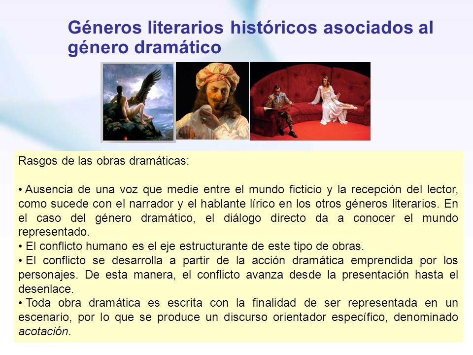 Géneros literarios históricos asociados al género dramático Rasgos de las obras dramáticas: Ausencia de una voz que medie entre el mundo ficticio y la
